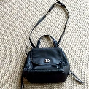 Backpack purse in black leather